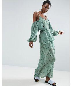 ASOS Made In Kenya   Платье Макси В Цветочек С Открытыми Плечами
