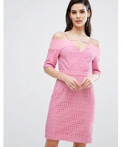 8th Sign | Кружевное Платье Миди С Вырезами На Плечах The