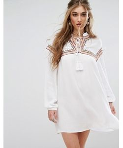 MISSGUIDED | Embroidered Tie Front Smock Dress