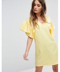 boohoo | Цельнокройное Платье С Рукавами-Оборками
