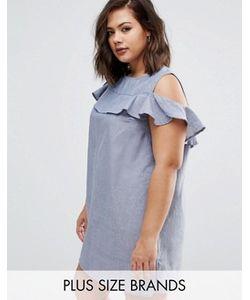 AX Paris | Платье Из Ткани Шамбре С Вырезами На Плечах И Рюшами Ax
