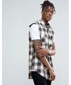 Asos | Удлиненная Клетчатая Рубашка Без Рукавов Классического Кроя