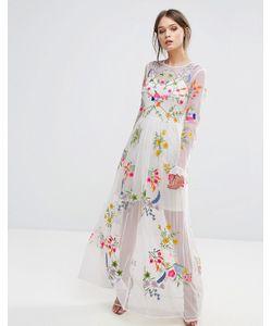 Frock and Frill | Платье Макси С Вышивкой И Завязкой На Талии