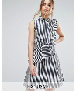 Closet London | Платье-Рубашка В Полоску С Оборкой Closet