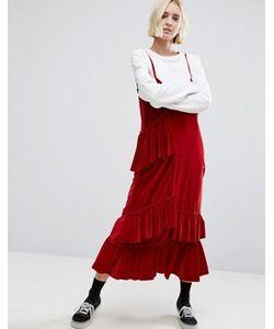 STYLE NANDA | Бархатное Платье Миди На Тонких Бретельках Stylenanda