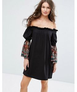 Asos | Платье С Открытыми Плечами И Вышивкой На Сетчатых Рукавах