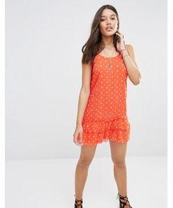 Abercrombie and Fitch | Красное Шифоновое Платье С Цветочным Принтом Abercrombie Fitch