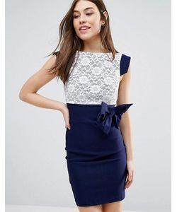 Vesper | Платье Миди С Кружевом И Бантом