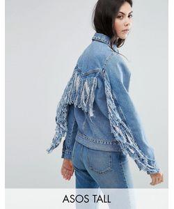 ASOS TALL | Синяя Выбеленная Джинсовая Куртка С Бахромой На Спине
