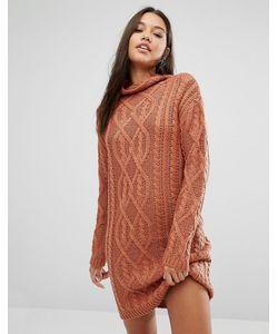 MISSGUIDED | Трикотажное Платье Мини Крупной Вязки С Узором Косичка