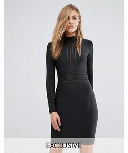 WOW Couture | Бандажное Платье С Высокой Горловиной И Сетчатыми Вставками