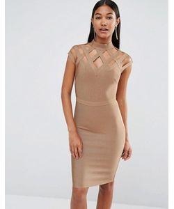 WOW Couture | Бандажное Платье С Высокой Горловиной