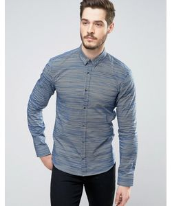 Hugo   Темно-Синяя Узкая Рубашка С Геометрическим Принтом By Boss Ero