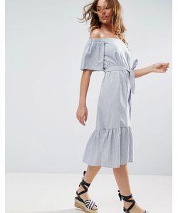 Asos | Хлопковое Платье Миди В Полоску С Открытыми Плечами