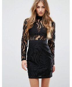 MISSGUIDED   Кружевное Облегающее Платье Мини С Высокой Горловиной