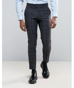Harry Brown   Slim Fit Navy And Check Heritage Suit Trousers