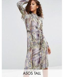 ASOS TALL | Цельнокройное Платье Со Змеиным Принтом И Запахом
