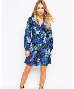 Needle & Thread | Короткое Приталенное Платье С Цветочным Принтом И Рукавамиколокол