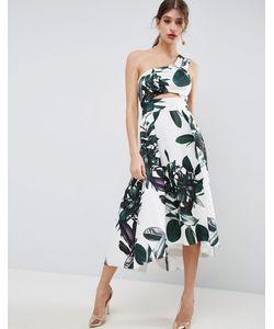 Asos | Платье Для Выпускного На Одно Плечо С Пальмовым Принтом
