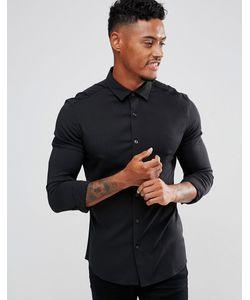 Asos | Черная Эластичная Рубашка Зауженного Кроя Из Вискозы