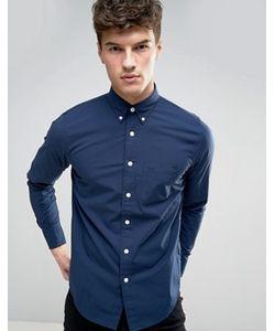 Abercrombie and Fitch | Темно-Синяя Обтягивающая Рубашка Из Эластичного Поплина Abercrombie Fitch