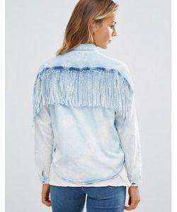 Maison Scotch   Джинсовая Рубашка С Бахромой На Спине