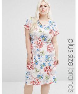 Koko | Цельнокройное Платье С Принтом Роз И Боковыми Разрезами Plus