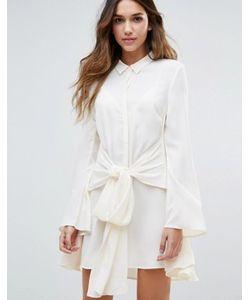 Unique 21 | Платье-Рубашка С Расклешенными Рукавами И Завязками На Талии