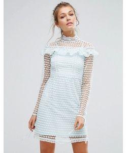 True Decadence | Кружевное Платье Мини С Длинными Рукавами И Оборками