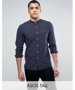 Asos   Темно-Синяя Фактурная Рубашка Стандартного Кроя Tall