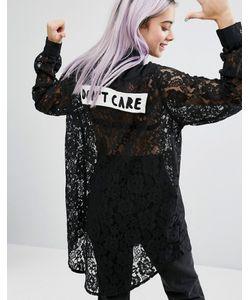 Lazy Oaf | Удлиненная Кружевная Рубашка Dont Care