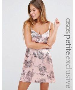 ASOS PETITE | Атласное Платье Мини На Бретельках С Цветочным Принтом