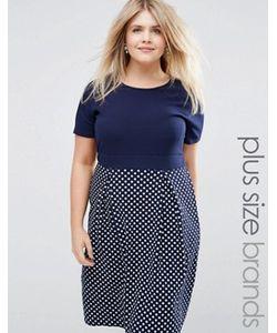 Praslin | Приталенное Платье С Темно-Синим Топом И Юбкой В Горошек Plus