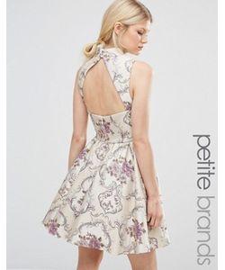 Chi Chi Petite | Жаккардовое Платье Мини Для Выпускного С Высокой Горловиной Chi Chi London