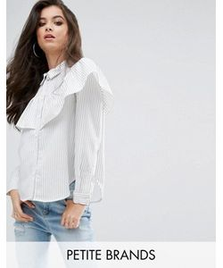 Missguided Petite | Stripe Frill Long Sleeve Collared Shirt