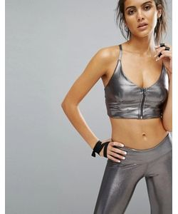 Haute Body | Кроп-Топ Цвета Металлик На Молнии Yoga