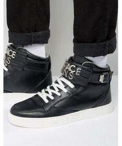 Versace | Черные Высокие Кроссовки С Металлическим Логотипом На Ремешке Jeans