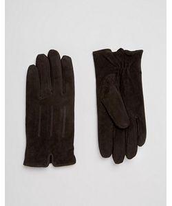 Barney's Originals   Коричневые Замшевые Перчатки Barneys