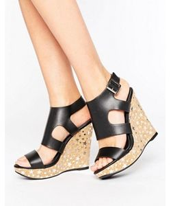 MISSGUIDED | Star Foil Printed Wedge Sandal
