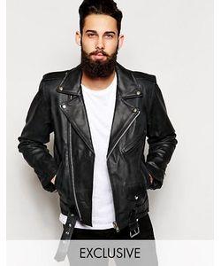 Reclaimed Vintage | Черная Кожаная Байкерская Куртка Inspired
