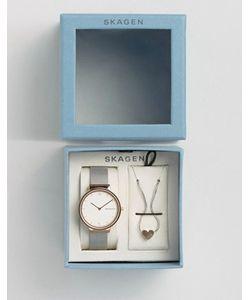 Skagen | Часы С Сетчатым Ремешком И Подвеска С Сердечком