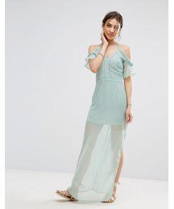 boohoo | Шифоновое Платье Макси На Бретельках С Открытыми Плечами