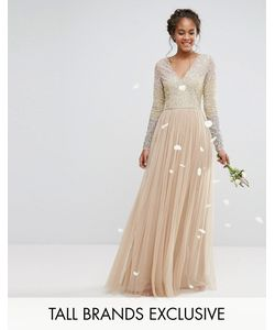 Maya Tall | Long Sleeve V Neck Tulle Maxi Dress With