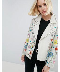 Asos | Кожаная Байкерская Куртка С Цветочной Вышивкой