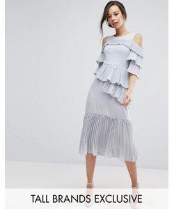 True Decadence Tall | Платье Миди С Открытыми Плечами И Плиссированными Оборками