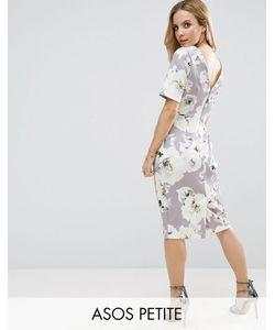 ASOS PETITE | Строгое Платье С V-Образным Вырезом На Спине И Цветочным Принтом