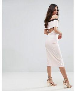 Asos | Креповое Платье Миди С Открытыми Плечами И Кружевом