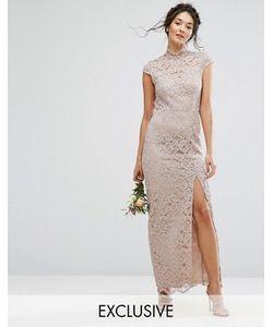 TFNC | Кружевное Платье С Высокой Горловиной И Короткими Рукавами Wedding