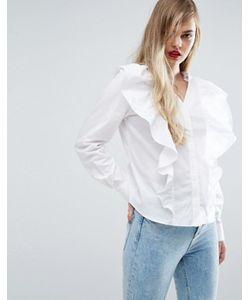 Asos   Рубашка С V-Образным Вырезом И Оборкой Спереди