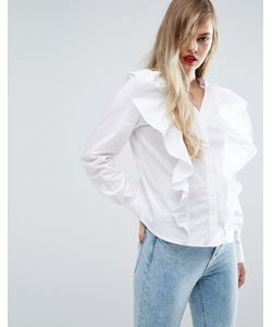 Asos | Рубашка С V-Образным Вырезом И Оборкой Спереди